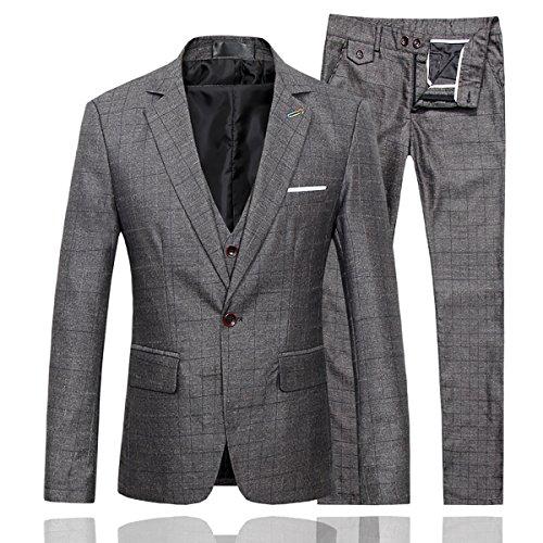 Mens Slim Fit Plaid Center Vent 3-Piece Suit Blazer Jacket Tux Vest & Trousers