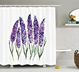 Ambesonne Watercolor Flower Decor Collection, Illustration of Lavender Flowers with Fresh Colors Mint Family Plant, Polyester Fabric Bathroom Shower Curtain Set with Hooks, Violet Green White