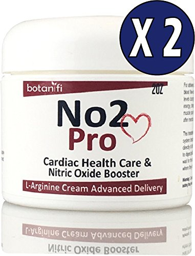 No2 Pro [2 pack ]- Helps Support Blood Pressure - L-Arginine skin cream FAST absorption. Has No Bad Taste, No Upset Stomach, No Large Pills, or Stained teeth - Botanifi!