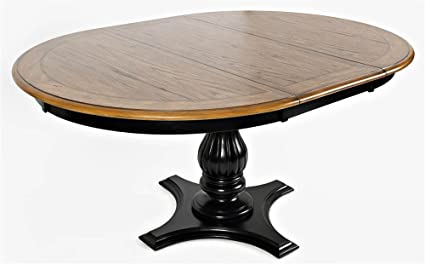 Jofran 1786 66TBKT Castle Hill Round To Oval Dining Table Antique Black W X 48quot