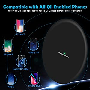 Wireless Charger, Wireless Charging Pad, eBoTrade Fast Ultra Slim Qi Charge Station for iPhone 8 / 8 Plus, iPhone X, Nexus 5 / 6 / 7, Samsung Galaxy S8/ S8+/ S7 / S7 edge / S6 edge/ Note 5 (Black)