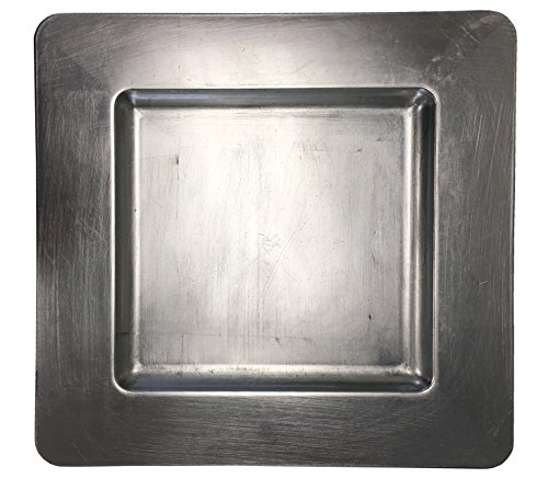 Square Plate Chargers (Luxurious Silver Heavy Duty Square Charger Event Silver Charger Plate)