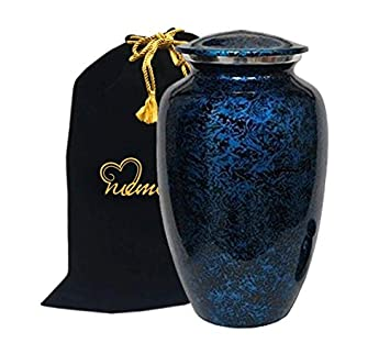 MEMORIALS 4U Memorials4u Forest Blue Cremation Urn for Human Ashes – Adult Funeral Urn Handcrafted – Affordable Urn for Ashes – Large Urn Deal