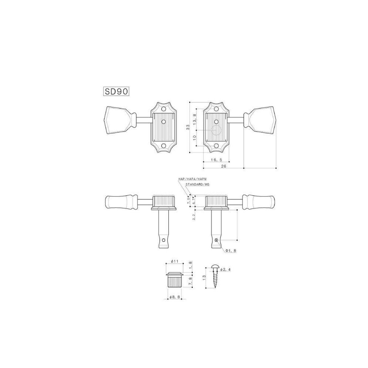Gotoh Standard Tuners SD90 SL Relic Series 3 Per Side
