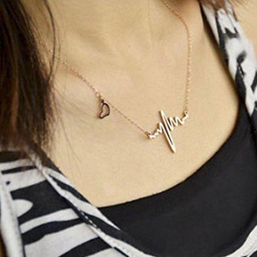 Collier LILICAT Femmes EKG Necklace Nouveau style unique Heartbeat Rhythm with Love Heart Shaped GD Gold