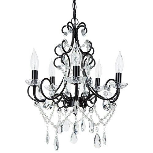 'Madeleine Collection' Crystal Swag Chandelier, 5 lights, Authentic Glass Pendant Lighting, Vintage Antique (Black)