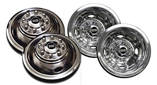 608 Polished 16 Inch 8 Lug Stainless Steel Wheel Simulator Kit for 1974-2000 Chevy GMC 3500; 1974-1998 Ford F350; 2008-2019 E350/E450 Van; 1974-1999 Dodge Ram 3500 ()