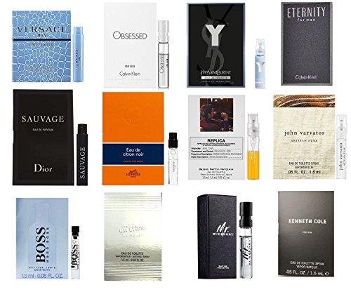 High End Designer Fragrance Sampler for Men - Lot x 12 Cologne Vials Dylan blue,Luna rossa,at the (Designer Sampler)