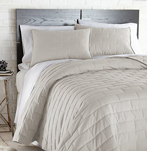 Southshore Fine Linens - The Brickyard Collection - Lightweight, 3 Piece Quilt Set, Full / Queen, (Bone Quilt)
