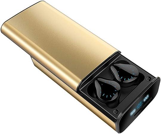 LAOSHIPAI Auriculares Bluetooth X17 5.0 Auriculares Cancelación Ruido TWS Auriculares Inalámbricos En La Oreja Deportivos Impermeables Pantalla LED Alimentación Alta Definición Estuche Carga,Gold: Amazon.es: Hogar