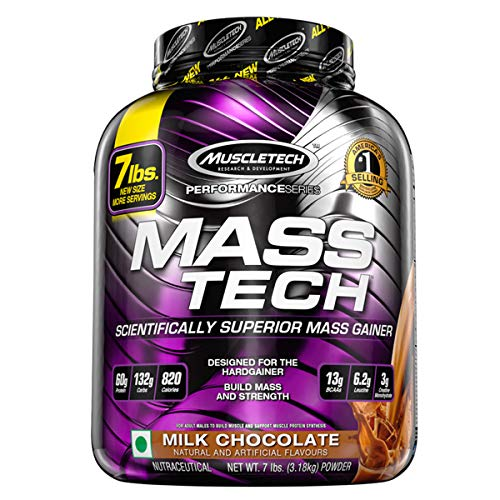 MuscleTech Mass Tech Mass Gainer Protein Powder, Build Muscle Size & Strength with High-Density Clean Calories, Milk Chocolate, 7lbs (3.2kg) (Best Mass Gainer Ever)