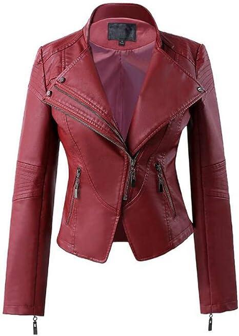 XL_nspiyi damska kurtka skÓrzana, wąski płaszcz, stÓjka: Sport & Freizeit