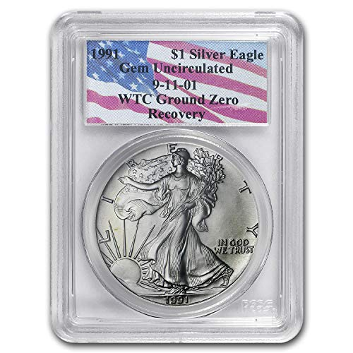 (1991 Silver American Eagle Gem Unc PCGS (World Trade Center) 1 OZ About Uncirculated PCGS)