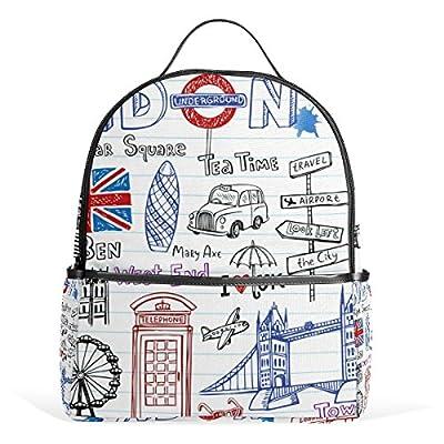 70%OFF LORVIES London Doodles Lightweight Canvas Kids School Backpack Book  Bag for boys girls d9a8a8e676