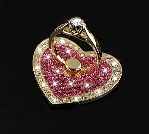 Universal Phone Ring Stand Holder UCLL Romantic Heart Crystal Finger Grip 360 Degree Rotating Ring Grip Cell Phone and Tablets Anti Drop Ring for iPhone iPad Samsung LG Huawei Sony (Gold-Red Wine)