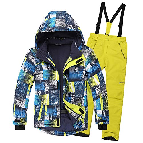 LPATTERN Kids Boys/Girls 2-Pieces Printed Ski Suit Snowsuit Snowboard Ski Jacket & Ski Bib/Pants Set, Patterned Jacket+ Yellow Pants, 12-13 Years(Label: 158/164) (Patterned Pants Girls Ski)