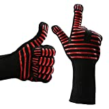 BBQ Grilling Cooking Gloves (1 Pair) with Brushes, 14