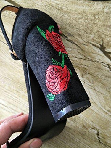 Minetom Mujer Verano Elegante Moda Rosa Bordado Tacón Sandals Tobillo Correa Hebilla Sandalias Zapatos de Tacón Alto Negro