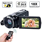 Video Camera Camcorder with IR Night Vision, WEILIANTE 18X Digital Zoom 24.0Mega Pixels Full HD Digital Video Camera Recorder (Two Batteries Included)