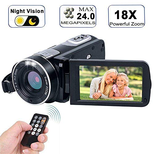 Video Camera Camcorder with IR Night Vision, WEILIANTE 18X Digital Zoom 24.0Mega Pixels Full HD Digital Video Camera Recorder (Two Batteries Included) by WEILIANTE