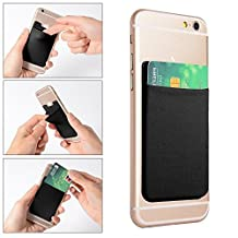 2 pcs Elastic Ultra-slim Lycra Cell Phone Wallet Case with 3M Adhesive, Credit ID Card Holder Pocket (Black)