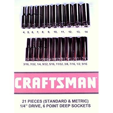 Craftsman 21 Piece 1/4  Drive 6 Point Deep Well Socket Set