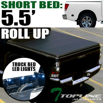 - Topline Autopart Lock & Roll Up Soft Vinyl Tonneau Cover & Truck Bed LED Lighting System For 04-15 Nissan Titan Crew Cab 5.5 Feet (66