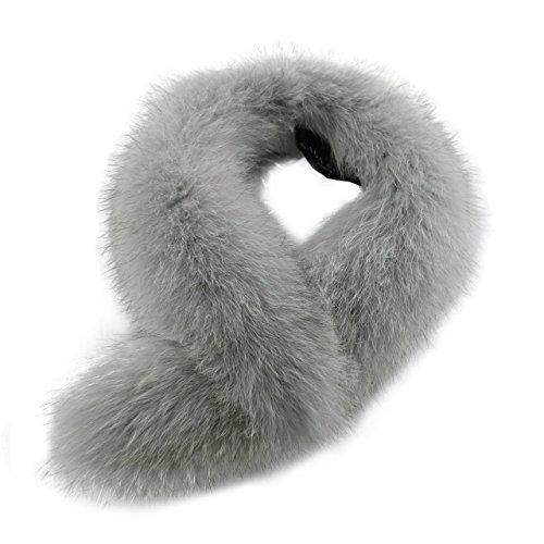 [サガ]SAGAファーマフラー毛皮フォックス:ライトグレー