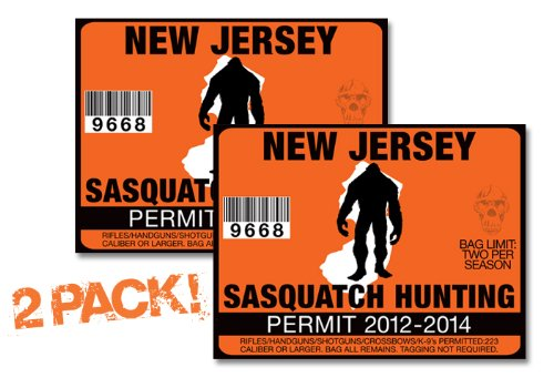 247Skins New Jersey-Sasquatch Hunting Permit License TAG Decal Truck Polaris RZR Jeep Wrangler Sticker 2-Pack!-NJ