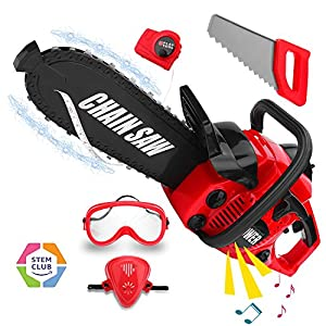 Kids Construction Toy Power Tools Chainsaw Play Set, Boys Pretend Play Toy Outdoor Lawn Tools Chainsaw Set for Toddlers