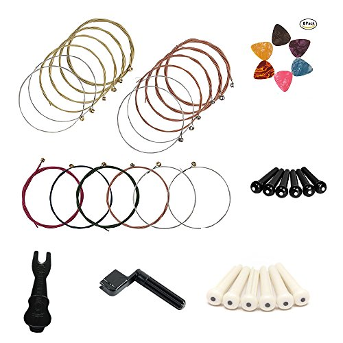 Colored Acoustic Guitar Bridge Pins - 3 sets of guitar strings,The international standard guitar strings,include red、yellow and multicolor Gifts include self-service string changing tools. Self-replacement (1)