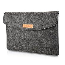 ProCase 13 - 13.5 Inch Felt Laptop Sleeve Bag, 13 Inch Macbook Pro Retina / MacBook Air, 13.5 Inch Surface Book and Other Chromebook Ultrabook Notebook Felt Laptop Bag Sleeve Case -Black