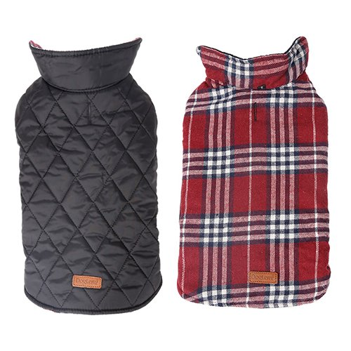 Reversible British Style Grid Dog Jacket Water Repellent Quilted Winter Clothes for Pet Red S - Winter Jackets For Dogs