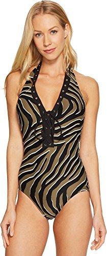 MICHAEL Michael Kors Women's Quincy Zebra Halter One-Piece Black 6 - Michael Kors Zebra
