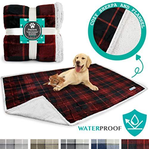 (PetAmi Waterproof Dog Blanket for Bed, Couch, Sofa | Waterproof Dog Bed Cover for Large Dogs, Puppies | Sherpa Fleece Pet Blanket Furniture Protector | Reversible Microfiber | 80 x 60 (Red))