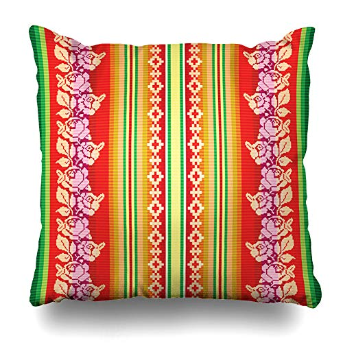 Ahawoso Throw Pillow Cover Bolivia Bolivian South American Pattern Abstract Peru Inca Alpaca America Color Design Native Home Decor Pillow Case Square Size 20 x 20 Inches Zippered Pillowcase