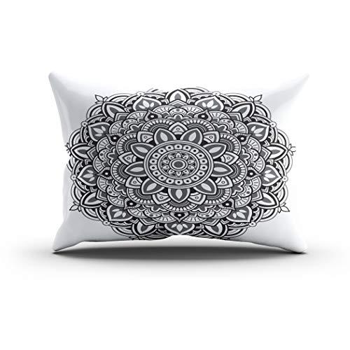 w Cover 20x30 Inch Queen Mandala Pattern Diwali Moroccan Tattoo Spiritual Floral Henna Oriental Cushion Home Decor Living Room Sofa Bedroom Office One Side Design Printed Pillowc ()