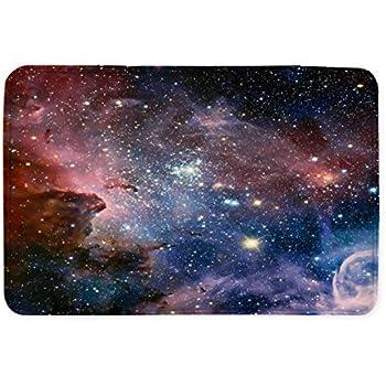 Goodbath Space Bath Rug, Galaxy Nebula Stars Space Exploration Non Slip Bath Mats Absorbent Bathroom Rugs Kitchen Floor Mat Carpet, 20 x 31 Inch, Colorful