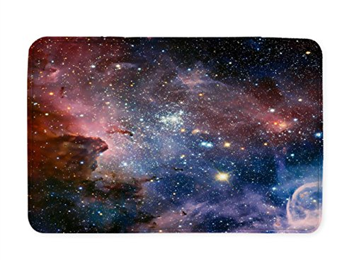 Goodbath Space Bath Rug, Galaxy Nebula Stars Space Exploration Non Slip Bath Mats Absorbent Bathroom Rugs Kitchen Floor Mat Carpet, 20 x 31 Inch, Colorful