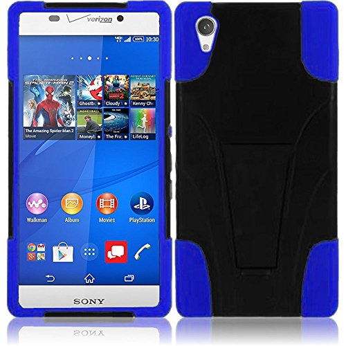 Sony Phone Faceplates (LF 3 in 1 Bundle - Hybrid Dual Layer Case with Stand, Stylus Pen & Screen Wiper for (Verizon) Sony Xperia Z3v, (Stand Blue))