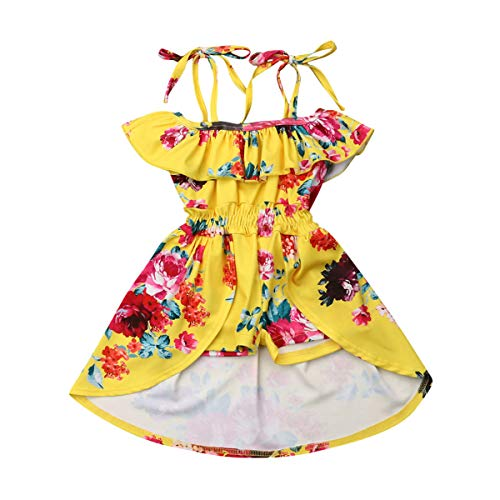 Toddler Baby Girl Halter Off-Shoulder Ruffle Dress Flower Print Shorts Dress Girl Skirts Outfit (Yellow, 2-3T)