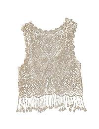 Kid Baby Girls Sleeveless Lace Crochet Hollow Top T-shirt Tassel Fringe Vest