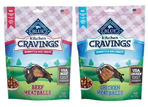 Blue Buffalo Kitchen Cravings Homestyle Treats For Dogs 2 Flavor Variety Bundle: (1) Blue Beef Meatballs Kitchen Cravings Homestyle Dog Treats, and (1) Blue Chicken Meatballs Kitchen Cravings Homestyle Dog Treats, 6 Oz. Ea. (2 Bags Total)