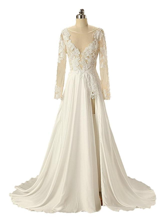 Dzdress Womens Long A Line Full Sleeve Satin Backless Wedding Dress