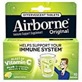 Airborne Lemon Lime Effervescent Tablets, 10 Count - 1000mg of Vitamin C - Immune Support Supplement (Pack of 12)