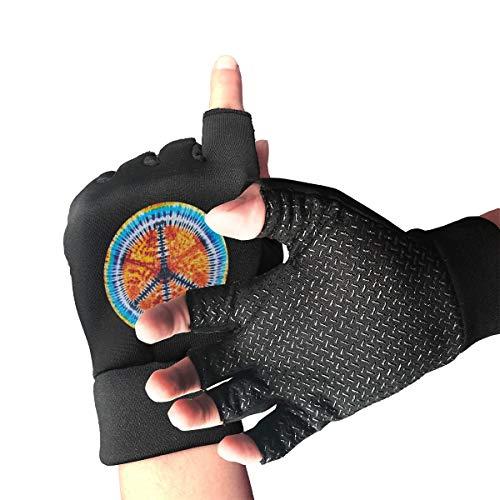 - WAYOULUCK Women Men Tie Dye Peace Sign Gym Workout Gloves Athletic Glove