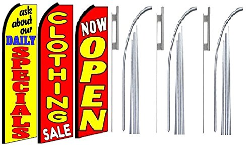 Pack of 3 clothing sale Now Open King Swooper Feather Flag Sign Kit With Pole and Ground Spike ask about our Daily specials