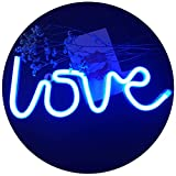 QiaoFei Neon Love Signs Light 13.70'' Large LED Love Art Decorative Marquee Sign - Wall Decor/Table Decor for Wedding Party Kids Room Living Room House Bar Pub Hotel Beach Recreational (Blue)