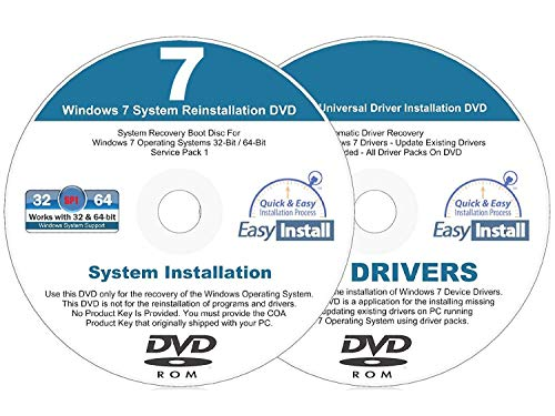 Compatible Windows 7 (SP1) 32 & 64 bit Reinstall Install DVD Disc Home Basic Premium Professional Ultimate - 2019 Driver DVD Included - 2 Disc Installation Kit (Vaio Sony Rom Dvd)