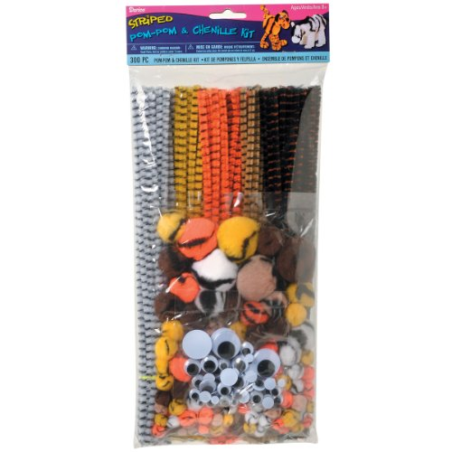 Darice 10843-15 300-Pack Pom Pom and Chenille Kit with Wiggle Eyes, (Chenille Animal)